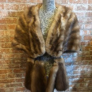 Vintage Fox Fur Shawl /Wrap/ Throw/ Cape